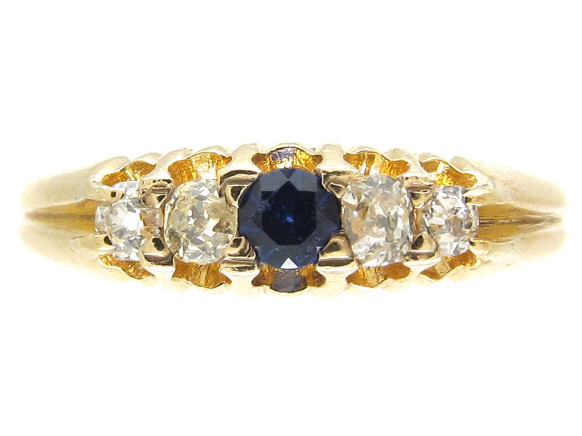 Victorian Sapphire & Diamond Five Stone Ring
