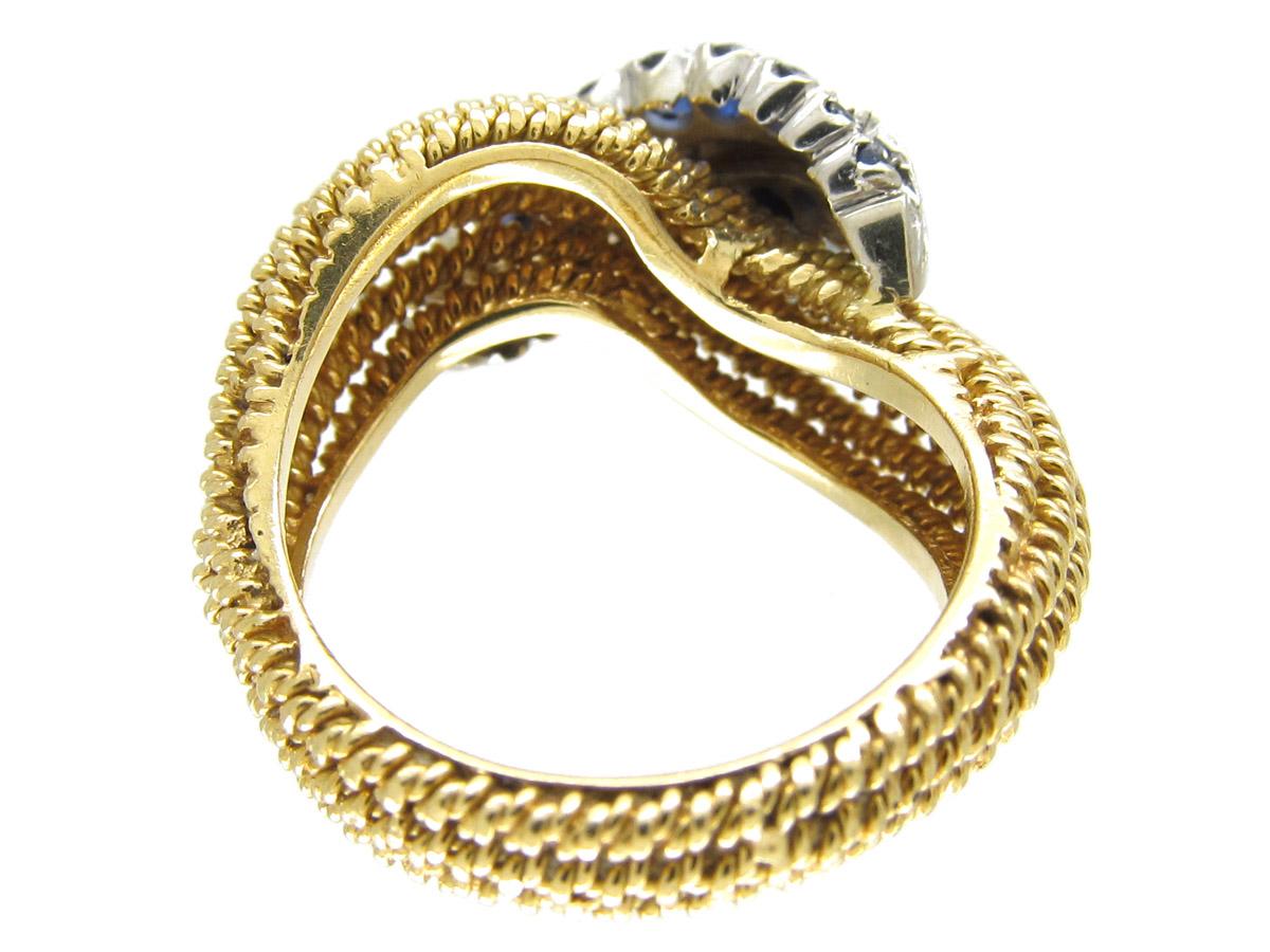 1950s Sapphire & Diamond Twist 18ct Gold Ring