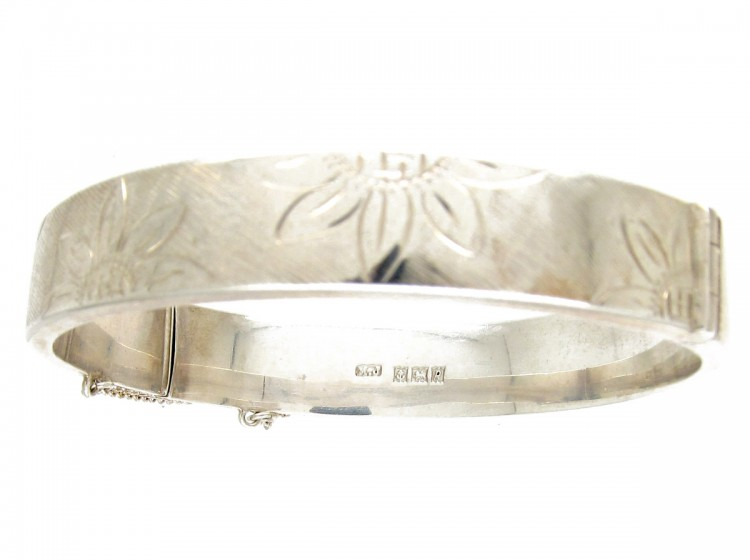 Engraved Flowers Silver Bangle