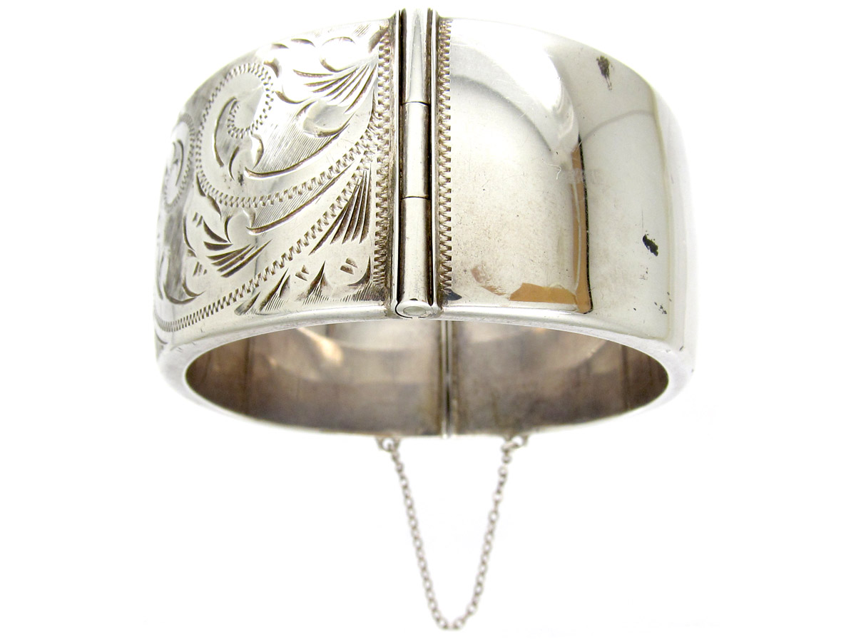 Silver Wide Engraved Bangle