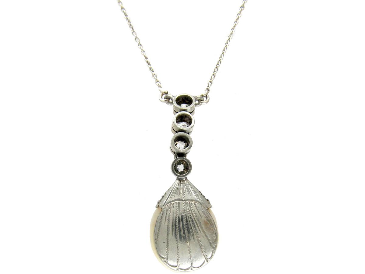 Art Deco Natural Pearl & Diamond Drop Pendant