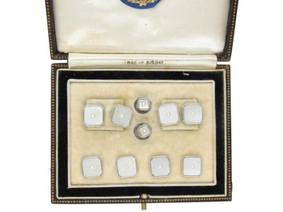 Art Deco 9ct White Gold & Mother of Pearl Dress Set