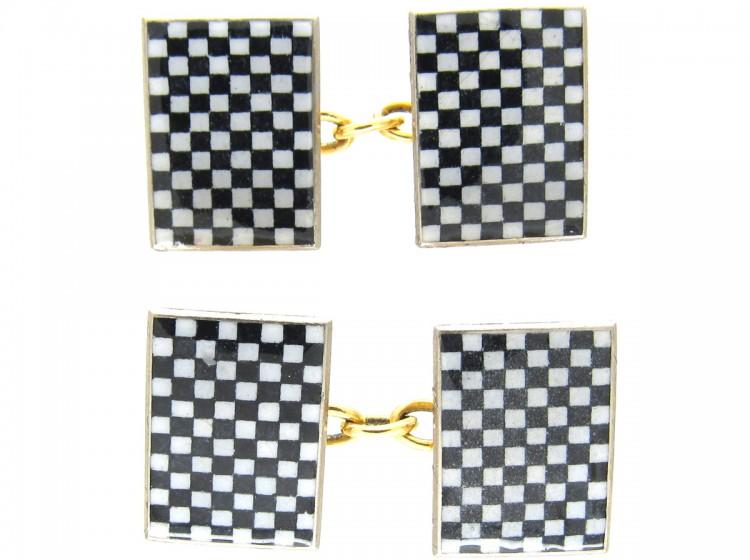 18ct Gold Enamel Art Deco Chequerboard Cufflinks