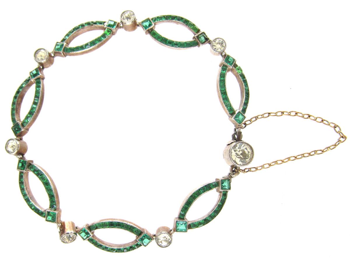 Edwardian Silver & Green & White Paste Bracelet