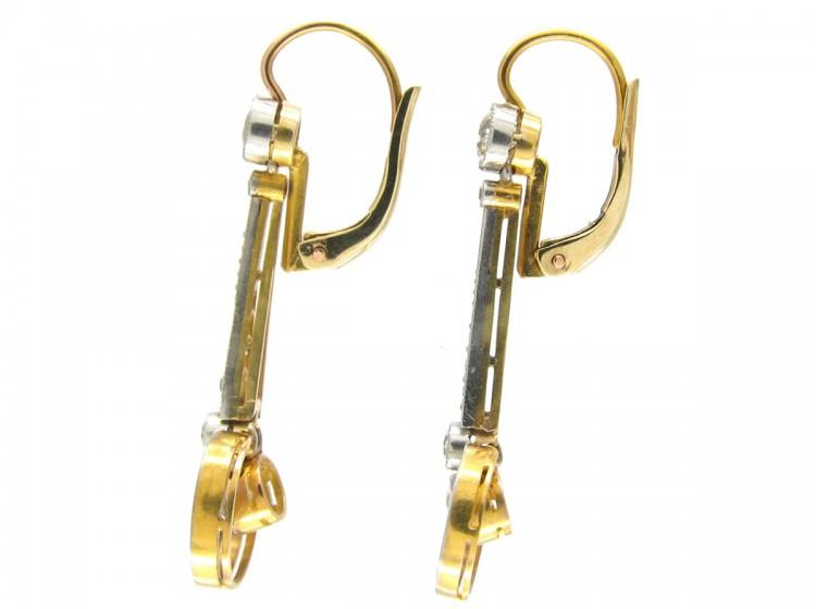 Art Deco 18ct Gold & Platinum & Diamond Drop Earrings