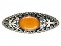 Large Russian Amber & Silver Brooch