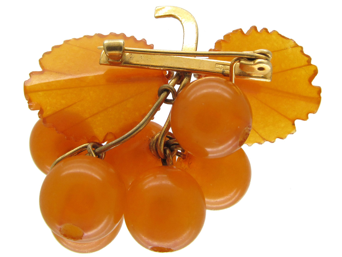Russian Amber Bunch of Grapes Brooch