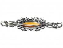 Russian Amber & Silver Bar Brooch