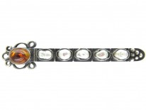 Russian Amber, Silver & Pearl Brooch