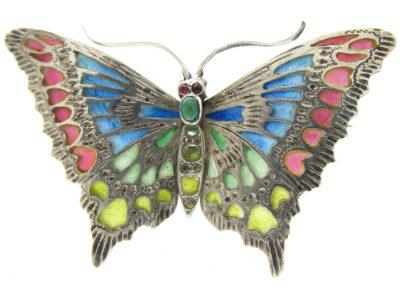 Art Nouveau Plique-à-Jour Silver Butterfly Brooch