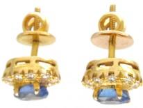 18ct Gold Tanzanite & Diamond Cluster Earrings