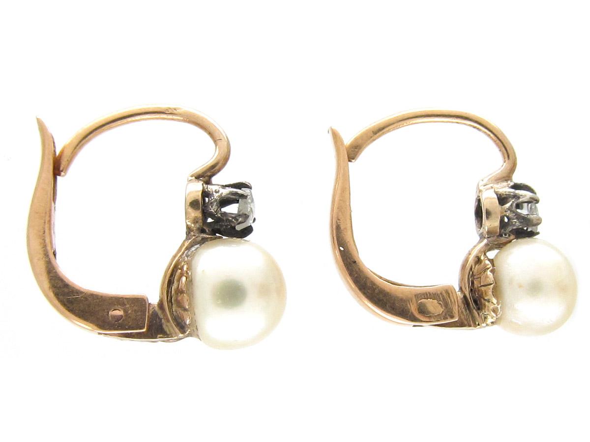 Edwardian 18ct Gold, Rose Diamond & Pearl Earrings