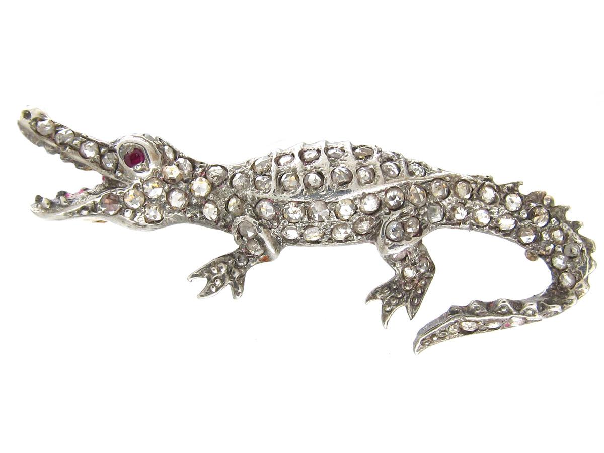 Ruby & Diamond Alligator Brooch