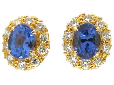 18ct Gold Tanzanite ​& Diamond Cluster Earrings