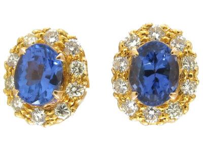 Tanzanite & Diamond Cluster Earrings