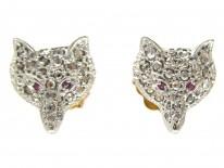Diamond & Ruby Fox Earrings
