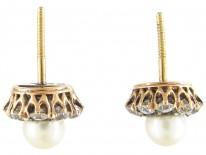 Edwardian 18ct Gold Diamond & Pearl Cluster Earrings