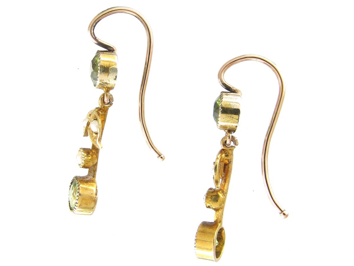 Edwardian 15ct Gold, Peridot & Natural Split Pearl Drop Earrings