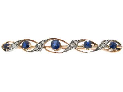 Edwardian Sapphire & Diamond Wavy Brooch