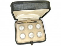 French Art Deco 18ct & Platinum & Mother of Pearl Buttons Dress Set in Original Case