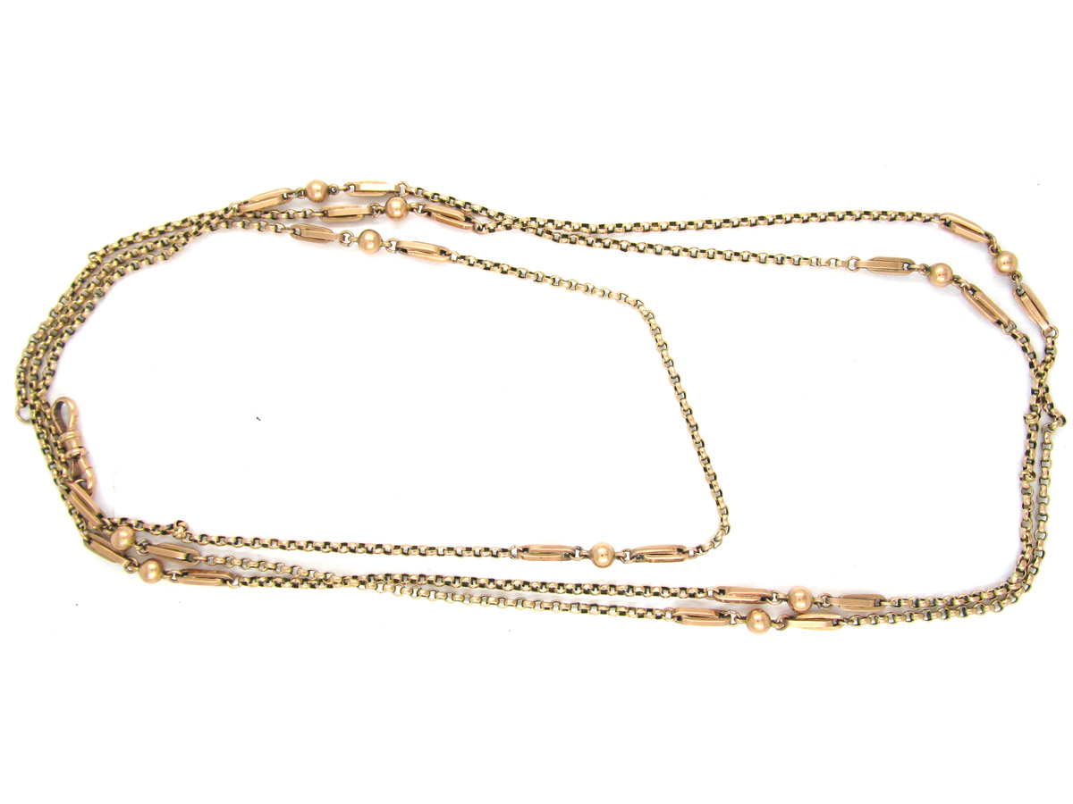 Long Victorian Twisted Rope Work & Ball Chain