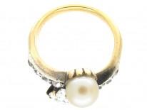 Art Nouveau Pearl & Diamond Crossover Ring