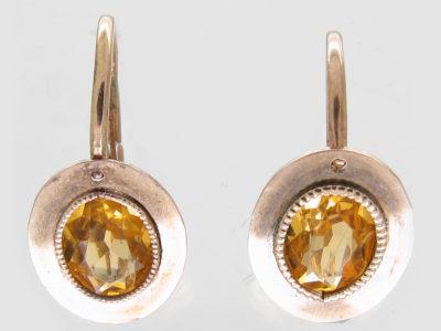 Georgian Gold & Yellow Paste Earrings