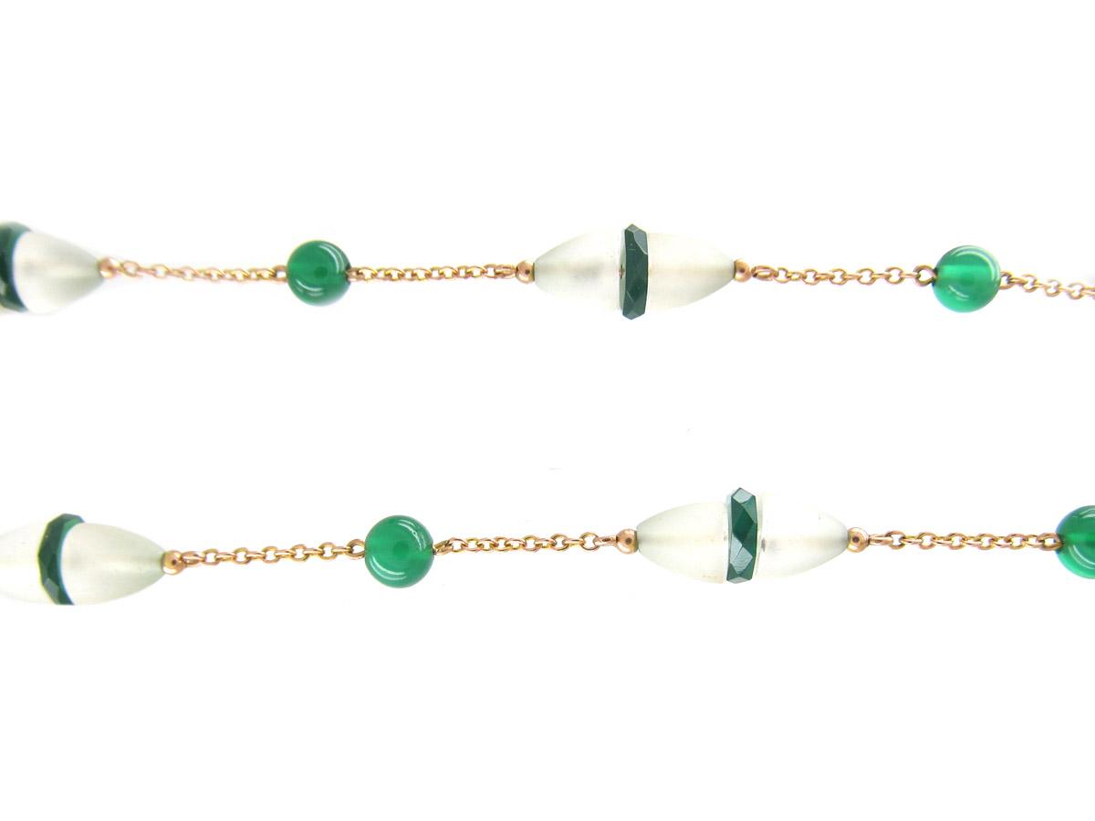 Art Deco Chrysoprase & Rock Crystal 9ct Necklace