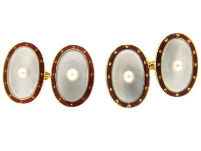 Edwardian Mother of Pearl, Split Pearl & Enamel Cufflinks