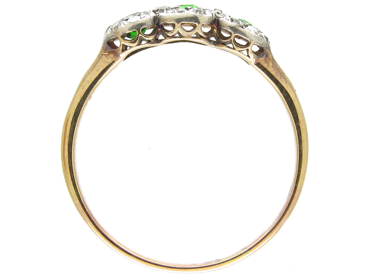 Green Garnet & Diamond Triple Cluster Edwardian Ring