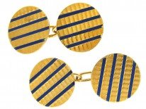 18ct Gold & Blue Enamel Art Deco Cufflinks