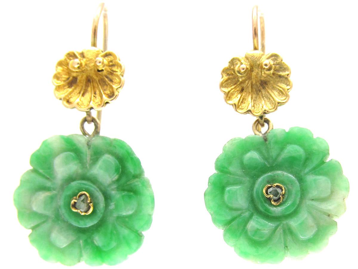 Diamond & Jade Flower Earrings
