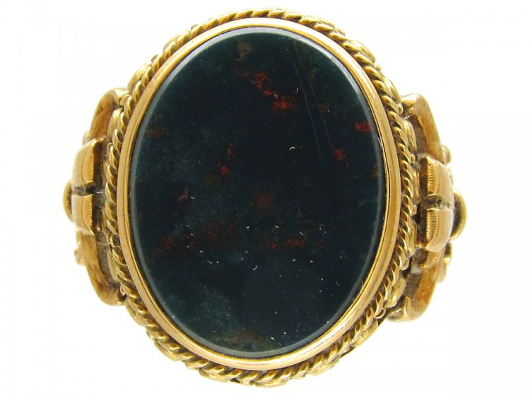 Russian Bloodstone Signet Ring - The Antique Jewellery Company