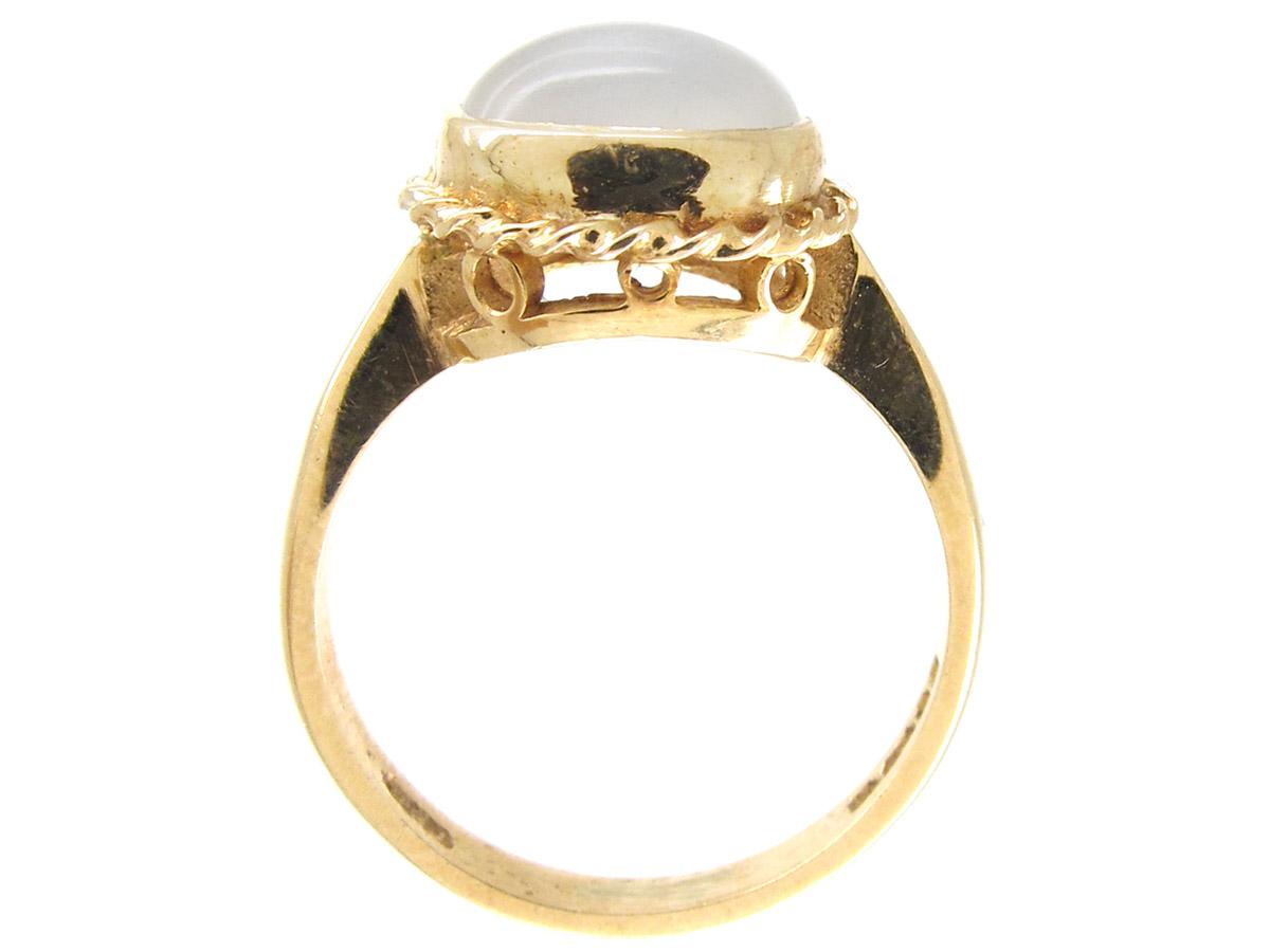 Cabochon Moonstone & Gold Ring