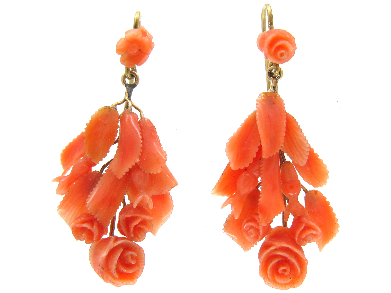 Carved Coral Flower Drop Earrings