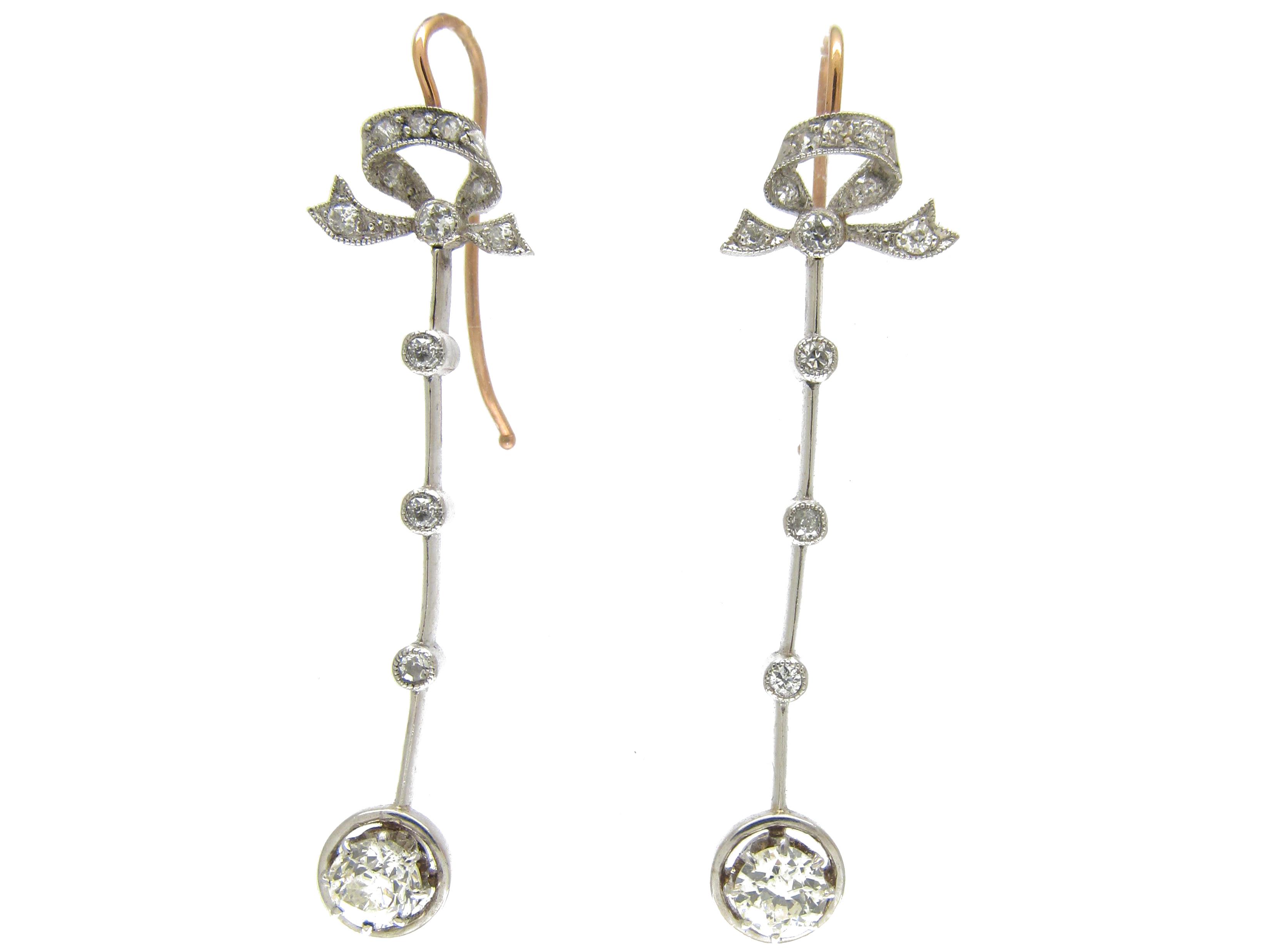 Edwardian Bow Top Platinum & Diamond Drop Earrings