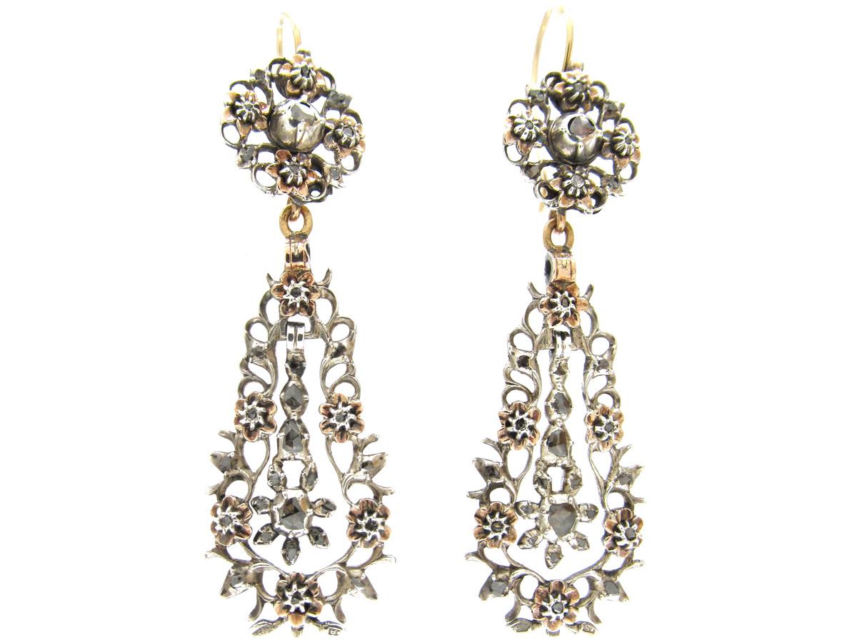 Georgian Long Drop Rose Diamond Earrings