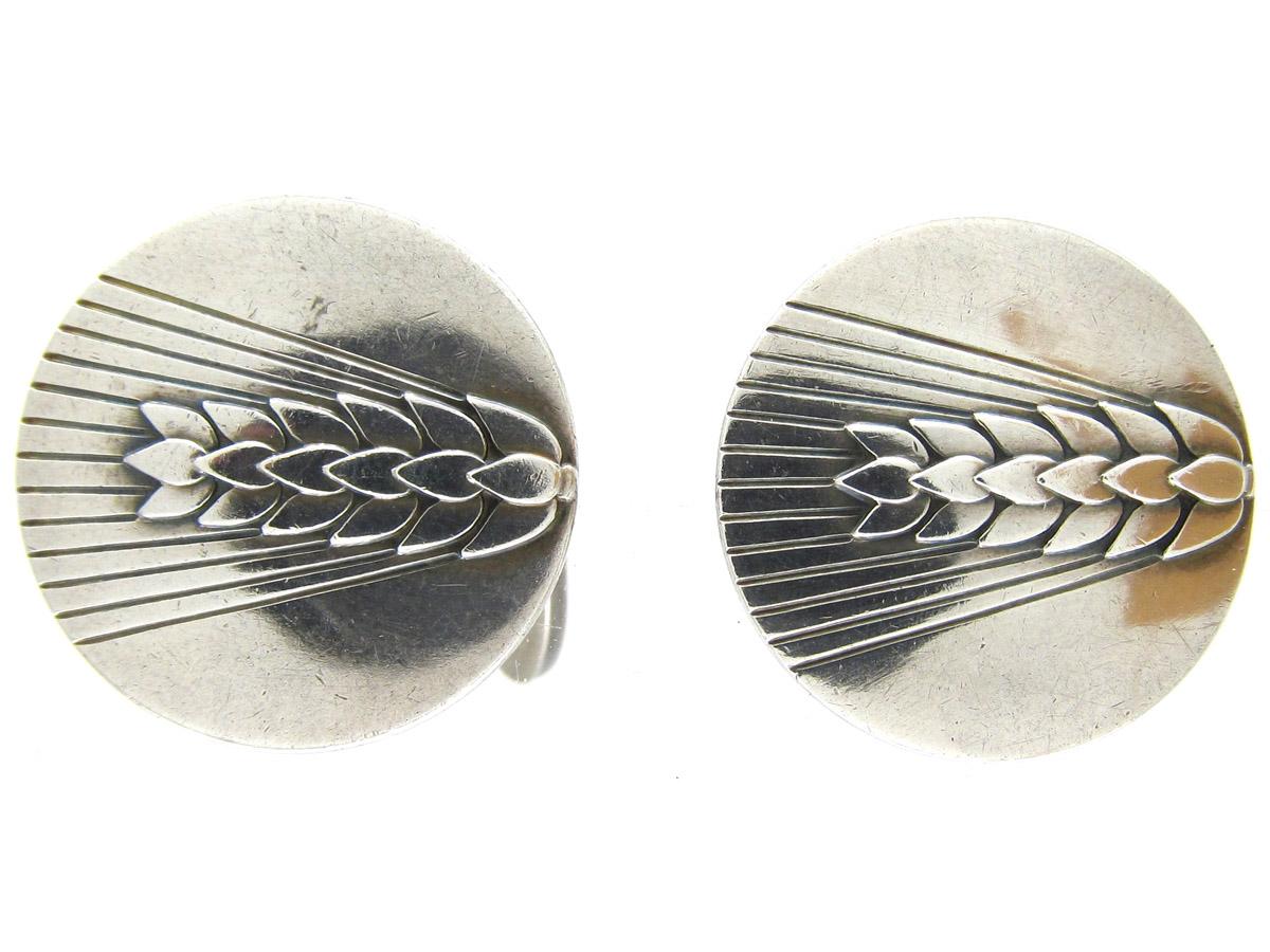 Pair of Silver Wheatsheaf Cufflinks by Georg Jensen