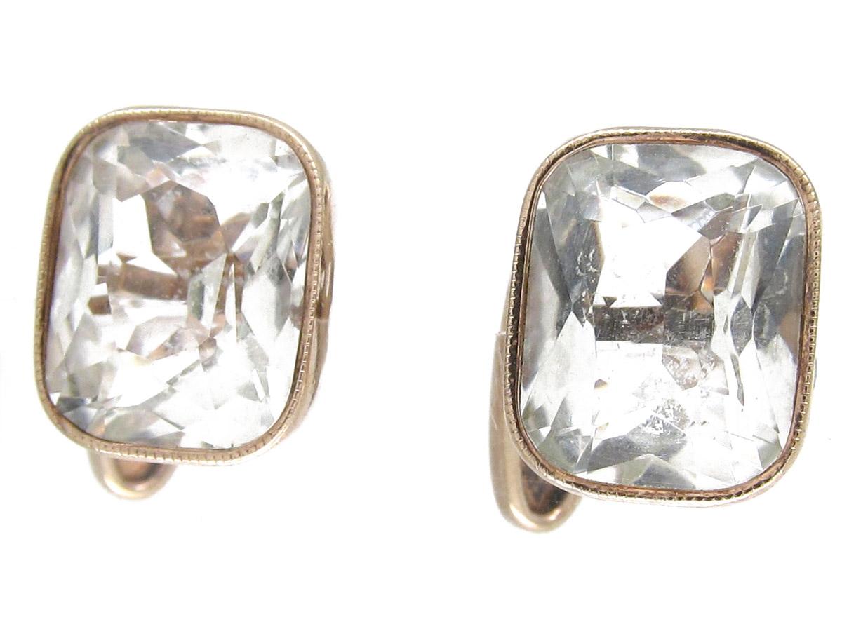 Russian Silver Rock Crystal Cufflinks