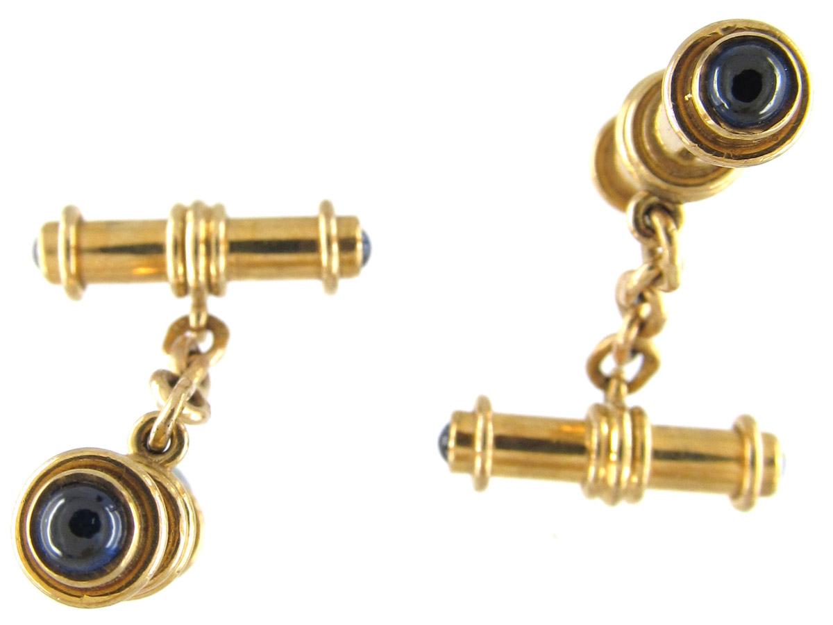 Gold & Cabochon Sapphire Cufflinks