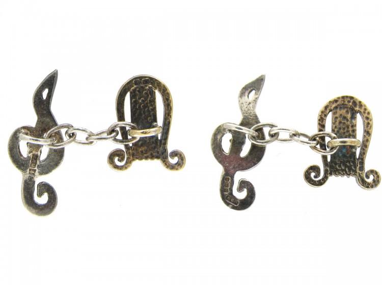 Silver Harp & Treble Clef Cufflinks