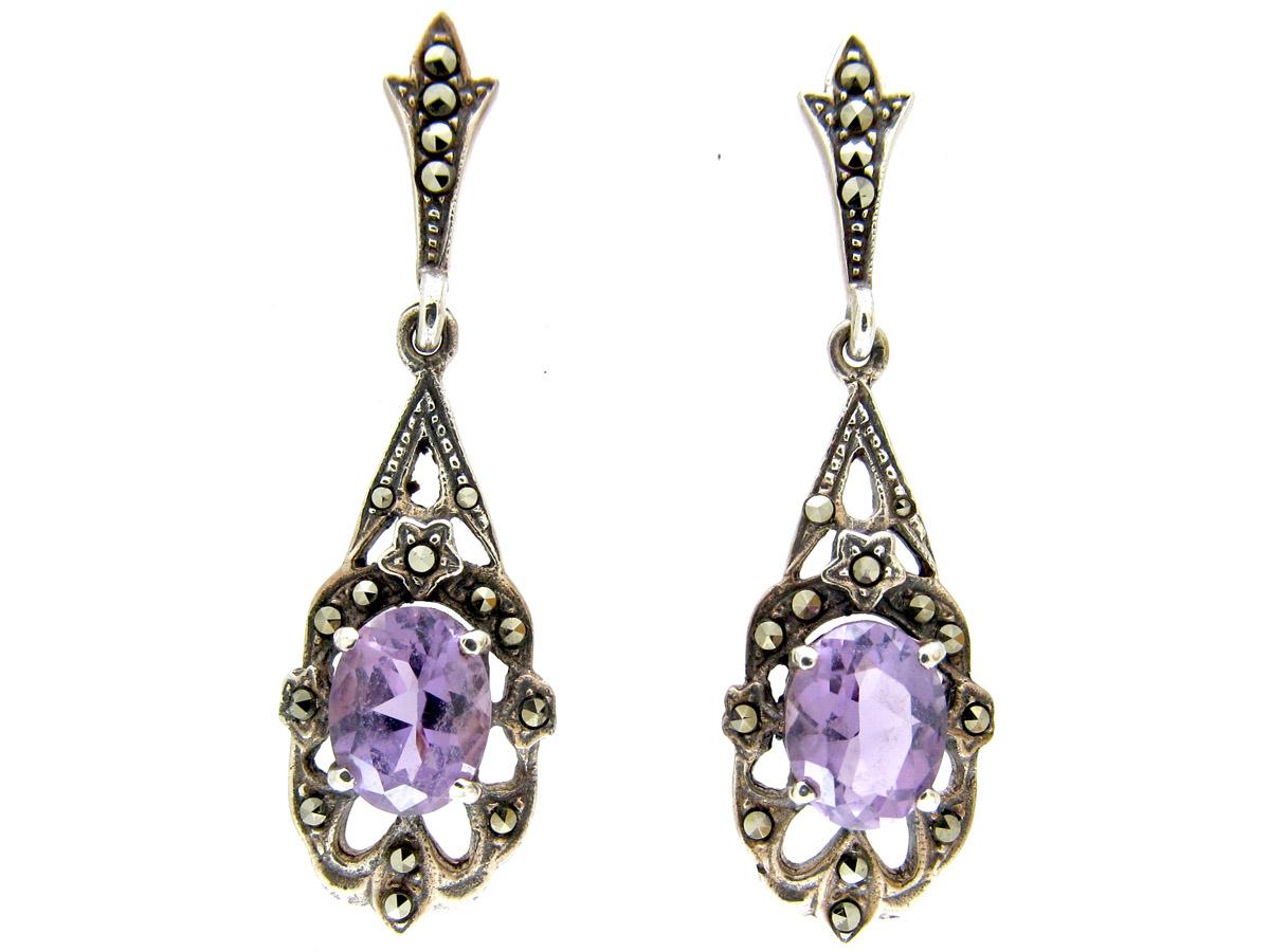 Silver Amethyst & Marcasite Drop Earrings