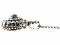 Edwardian Diamond Target Cluster Pendant on Chain