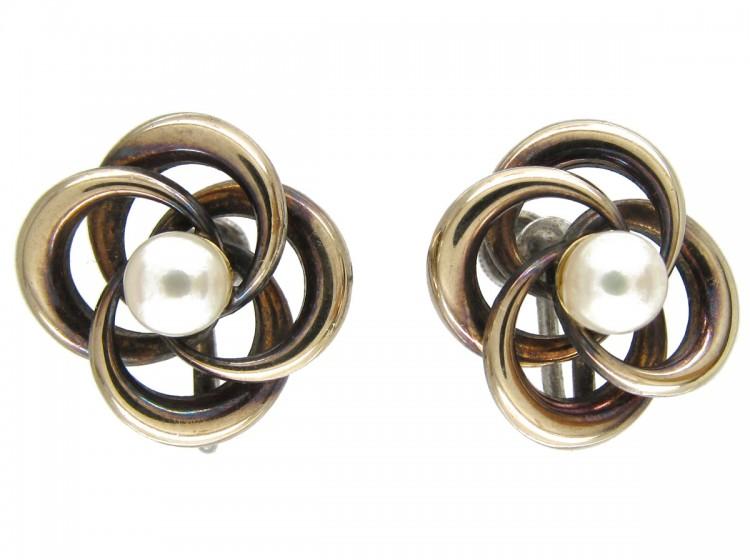 Silver & Pearl Knot Earrings