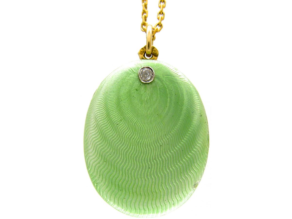 Russian Gold & Green Enamel Locket Pendant on Chain