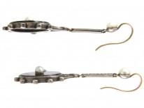 Art Deco Onyx Pearl & Marcasite Drop Earrings