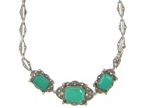 Green Chalcedony & Marcasite Art Deco Silver Necklace