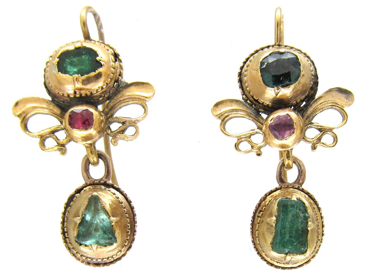 Georgian 18ct Gold, Emerald & Ruby Earrings