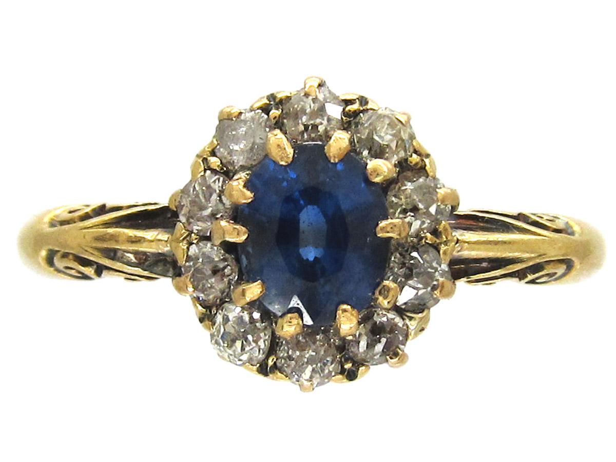 Edwardian Oval Sapphire & Diamond Cluster Ring