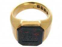 18ct Gold Octagonal Bloodstone Signet Ring